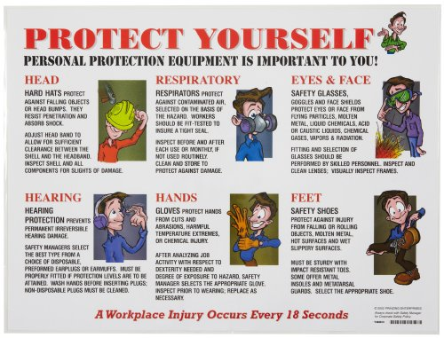 "Brady PS127E 18"" Height, 24"" Width, Laminated Paper, Black, Red, Blue On White Color Prinzing Poster PPE Usage, Legend ""Protect Yourself Personal Protective Equipment Is Important To You"""