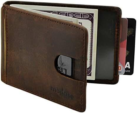 Mens Wallet, Modase RFID Blocking Slim Genuine Leather Wallet for Men with Money Clip