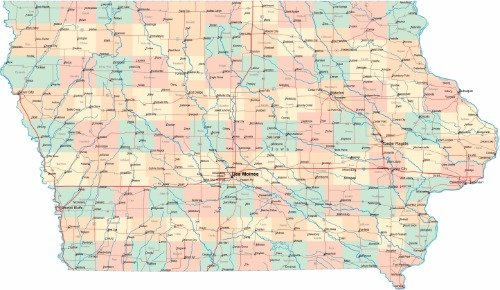 - IOWA ROAD MAP GLOSSY POSTER PICTURE PHOTO city state county Des Moines