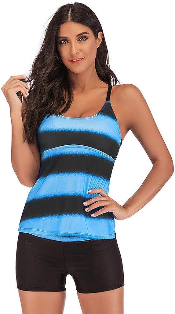 SADUORHAPPY Women/'s Plus Size Swimwear Gradient Color Tankini Set Top with Shorts Low Waist Sports Swimsuit Bikini