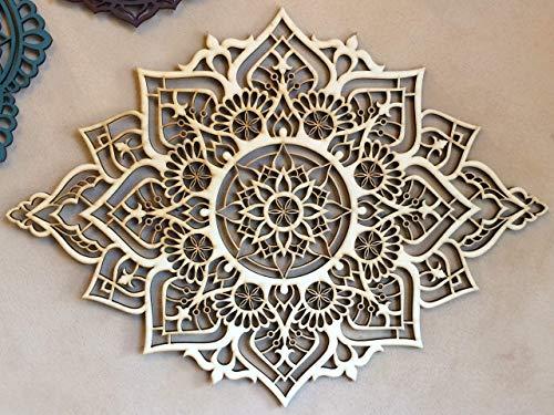 Mandala Wood Home Decor, Boho Ethnic Housewarming Wall Hanging, Morrocan Indian Wall Art, Sacred Geometry Yoga Studio, Unique Handmade Spiritual Gift by Tohar Wood Design (Image #6)