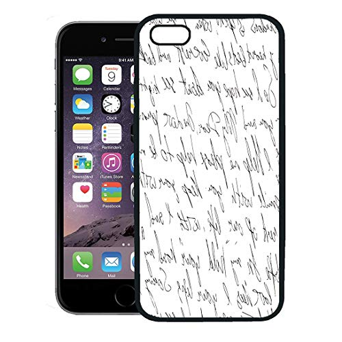 (Semtomn Phone Case for iPhone 8 Plus case Cover,Scribble Abstract Text Written Black Pen for Script Brush Dirty Doodle,Rubber Border Protective Case,Black)