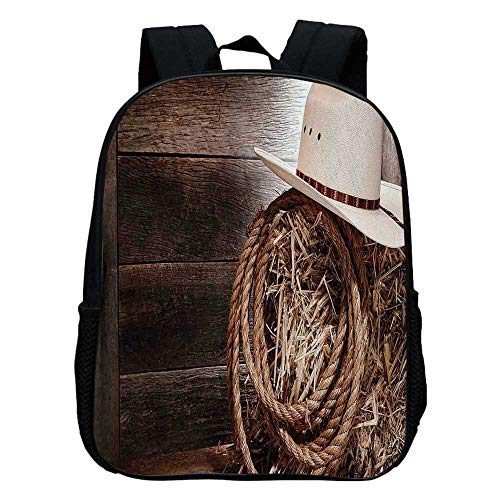 Western Durable Kindergarten Shoulder Bag,American West Rodeo Hat with Traditional Ranching Robe on Wooden Ground Folk Art Photo Decorative For school,11.8