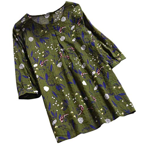 Lazzboy Womens Tops Blouse 3/4 Long Sleeve Linen Ladies Floral Print Loose...