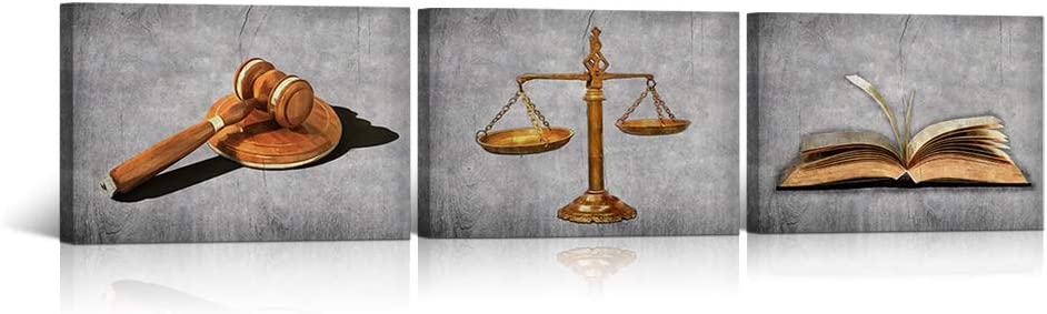 """HOMEOART Scales of Justice Legal Pictures Lawyer Office Decor Law Themed Painting Canvas Giclee Printings Stretched Framed Easy To Hang (12""""x16""""x3 Panels (B&W))"""