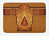 Lunarable Animal Bath Mat, Vector Illustration of a Rhinoceros Head with an Ethnic Ornament Print, Plush Bathroom Decor Mat with Non Slip Backing, 29.5 W X 17.5 W Inches, Cinnamon Pale Coffee