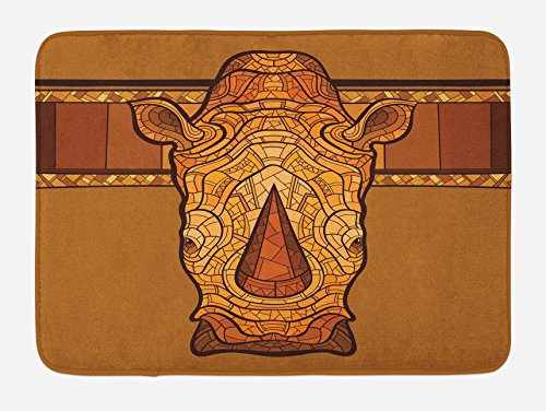 Lunarable Animal Bath Mat, Vector Illustration of a Rhinoceros Head with an Ethnic Ornament Print, Plush Bathroom Decor Mat with Non Slip Backing, 29.5 W X 17.5 W Inches, Cinnamon Pale Coffee by Lunarable