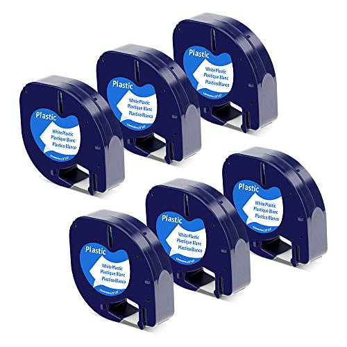 (Replace Dymo LetraTag Label Maker Refills 91331 (S0721660) Dymo Plastic Black on White Label Tape, Compatible with Dymo LetraTag Label Maker LT-100H LT-100T QX50, 1/2 Inch x 13 Feet, 12mm x 4m, 6-Pack)