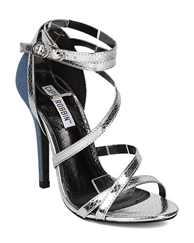 CAPE ROBBIN Women Two Tone Stiletto Sandal - Wedding, Prom, Dressy - Strappy Heel Sandal - HK19 by Denim / Silver Mix Media