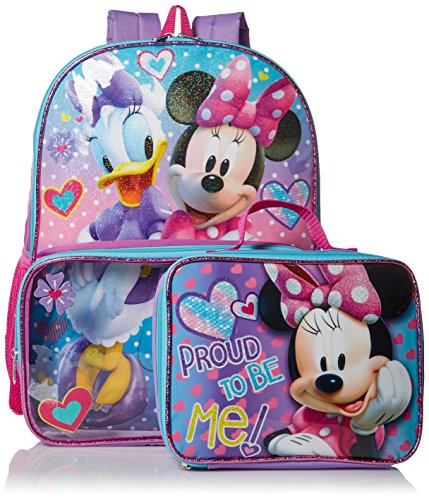 Disney Girls' Minnie Backpack with Lunch Window Pocket, Pink