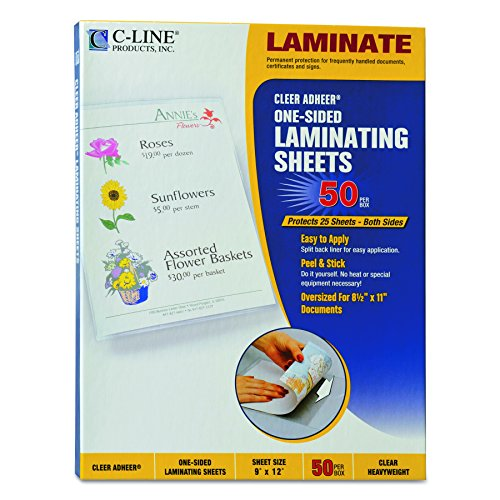 C-Line Heavyweight Cleer Adheer Laminating Film Sheets, Clear, 9 x 12 Inches, 50 per Box (65001)