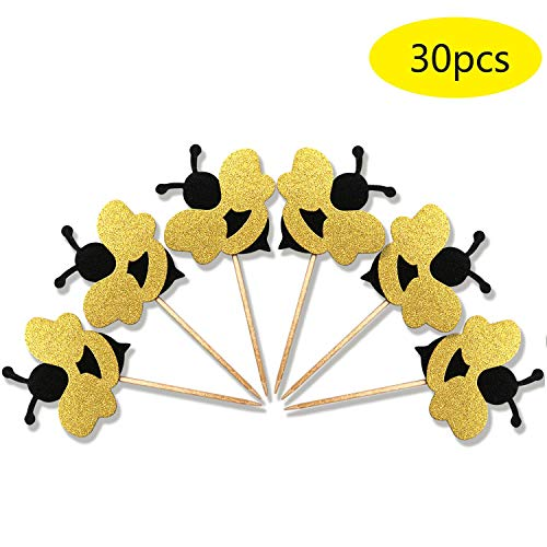ALISSAR 30-Pack Glitter Bumble Bee Cupcake Toppers, Baby Bee Gender Reveal Baby Shower Party Cupcake Cake Food Decoration Supplies