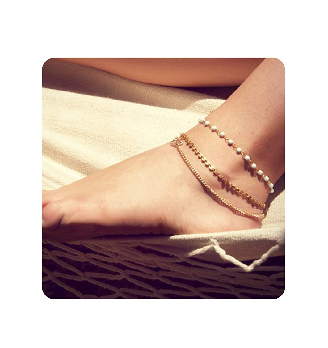 aa97d3f1d Amazon.com  Zealmer Layered Gold Chain Anklet Beads Sequin Anklet Bracelet  Beach Foot Jewelry  Jewelry