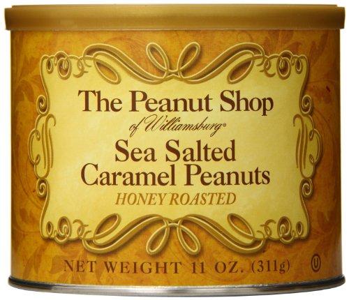 The Peanut Shop of Williamsburg Honey Roasted Peanut Tin, Sea Salt Caramel, 11 Ounce by The Peanut Shop of Williamsburg