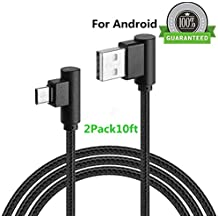 Micro USB 90 Degree Android Lightning Cable, VPR Right Angle USB to Micro USB Fast Charger Cord nylon braided for Galaxy S7/ S6/ S5/ Edge, Note 5/ 4/ 3, HTC, LG, Nexus and More (Black2Pack10ft)