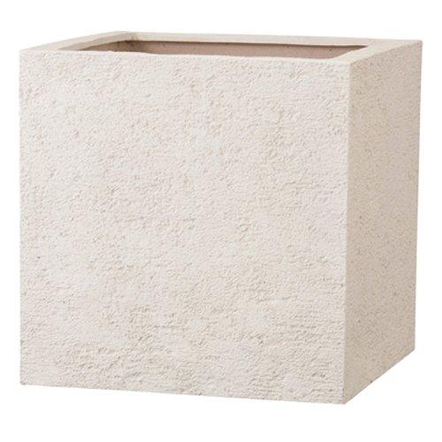 新素材ポリストーンライト リガンデ キューブ 50cm アイボリー /樹脂製植木鉢 B01B5CG5N2 50cm|アイボリー アイボリー 50cm