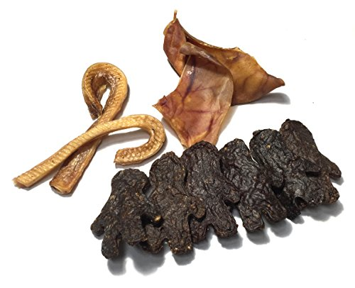 MADE IN USA All-Natural Dog Chews & Treats GIFT SET: 2 Pig Ear Halves, 2 Petite Candy Cane Steer Bully Sticks, 6 LIL' Buddy Beef Treats Packed in Flying Disc by Sancho & Lola's Natural Rawhide Cane