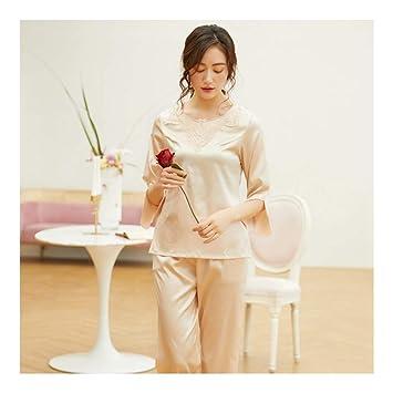 HAOLIEQUAN Set De Pijamas Largos Camisones Set Tops + Pantalones De Seda para Mujeres Ropa De