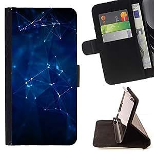 For HTC One M8 Case , Geométrico Estructura Formas 3D Art Blue- la tarjeta de Crédito Slots PU Funda de cuero Monedero caso cubierta de piel