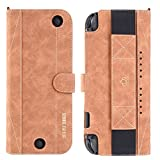For Nintendo Switch Wallet Style Carrying Case, UTOPER PU Leather Protect Flip Travel Cover For Nintendo Switch Case, with 10 Card Holeders & Stand Function -Brown