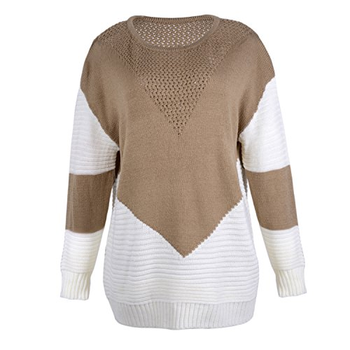 Tricot Pullover en Chaud Sweater ASSKDAN Kaki Rond Pull Automne Hiver Mi Femme Longue Col HqHIvwX