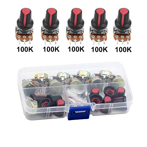 Poilee 10 Piece 100K Ohm Potentiometer Knob 3 Terminals Linear Taper Rotary Audio B Type Potentiometer Pot with Case