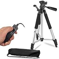 57 Inch Lightweight Aluminum Camera Tripod + Remote Shutter Release for Canon T6i T6 T6s T5i T5 T4i T3i T2i T1i and 4-inch mini tripod Included (4 Piece Set)