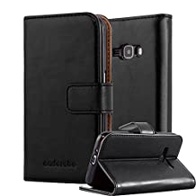 Cadorabo – Luxury Book Style Wallet Design Case for Samsung Galaxy J1 (Model 2016) with 2 Card Slots and Stand Function - Etui Case Cover Protection Pouch in GRAPHITE-BLACK