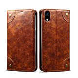Wallet Case for iPhone Xs Max Apple Leather,Khaki Retro Texture Folio Card Holder Cover Kickstand...