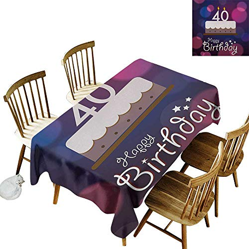 40th Birthday Anti-wrinkle and anti-wrinkle polyester long tablecloth Big Color Dots and Graphic Cake with Candles Hand Writing and Stars For weddings/banquets W54 x L108 Inch Purple Pink -