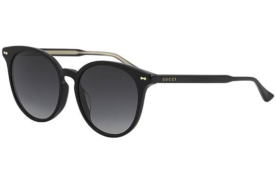 Gucci Unisex-Erwachsene Sonnenbrille GG0073S 001, Schwarz (Black/Grey), 55