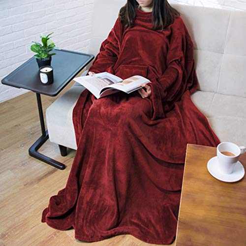 PAVILIA Premium Fleece Blanket with Sleeves for Adult, Women, Men | Warm, Cozy, Extra Soft, Microplush, Functional, Lightweight Wearable Throw (Wine, Regular Pocket)