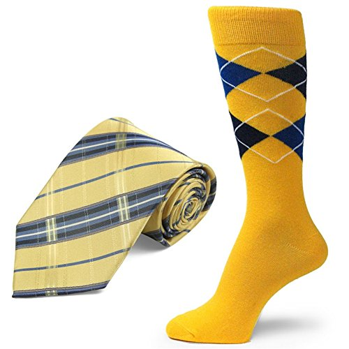 Spotlight Hosiery brand Men's Dress Socks &Necktie Set Golden Yellow/Navy Blue/Royal Blue by SpotLight Hosiery