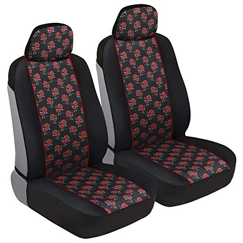 BDK Two Tone Pattern Car Seat Covers - Sideless Chic Style - Soft & Flexible Polyester (Rose Pattern)
