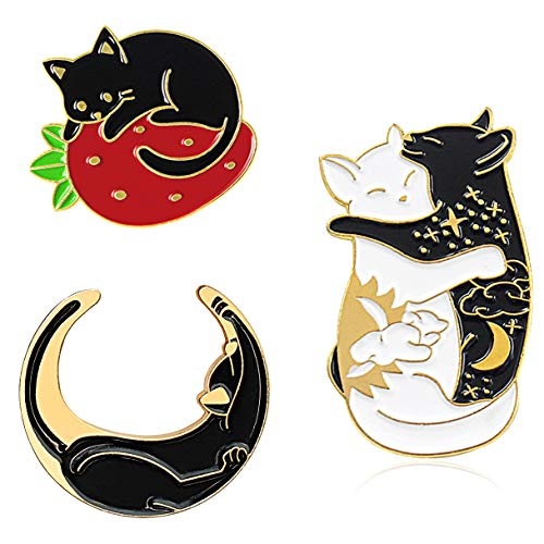 Chamqueen 3pcs Cartoon Black Cats Brooch Cute Cats Enamel Lapel Pins Set Cats Badges for Clothing Bags Backpacks Gold