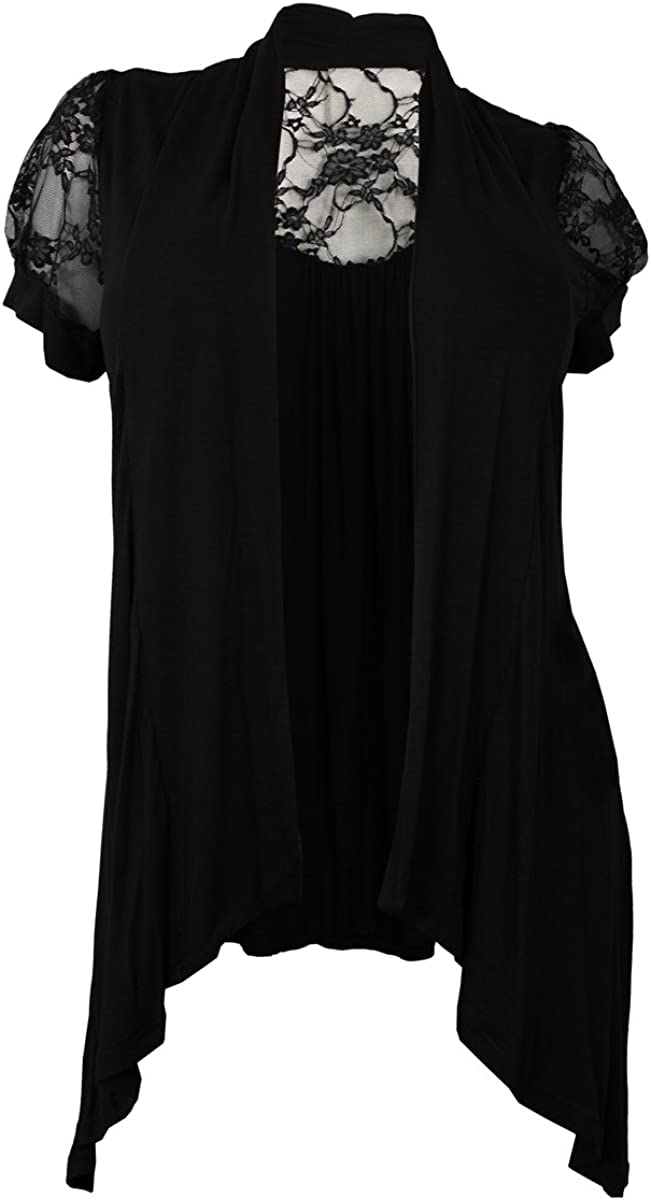 eVogues Plus Size Laced Black Open Front Cardigan