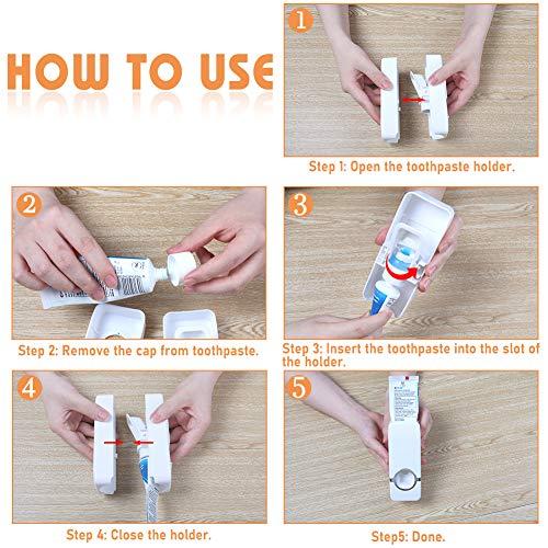 LOVEINUSA Toothpaste Holder, Toothbrush Dispenser Toothbrush Holder Wall Mounted Toothbrush Holder for Family Washroom Bathroom