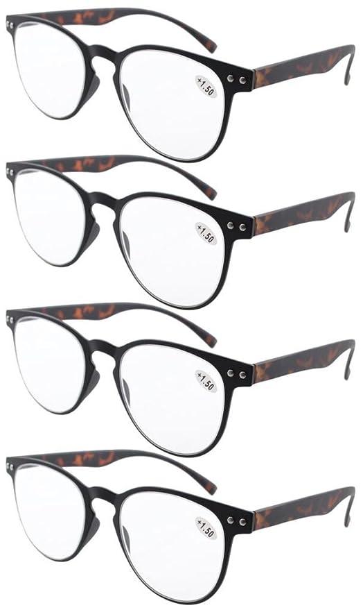 Eyekepper gafas de lecturra 4-pack ronda completa cobertura ultrafina marco flexible incluye gafas de sol (+2.25, negro/tortuga-4pcs TODO CLARA)