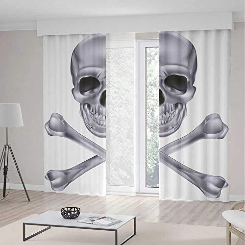 (iPrint Blackout Curtains,Silver,Living Room Bedroom Decor,Vivid Skull and Crossbones Dangerous Scary Dead Skeleton Evil Face Halloween Theme Decorative,2 Panel Set,104