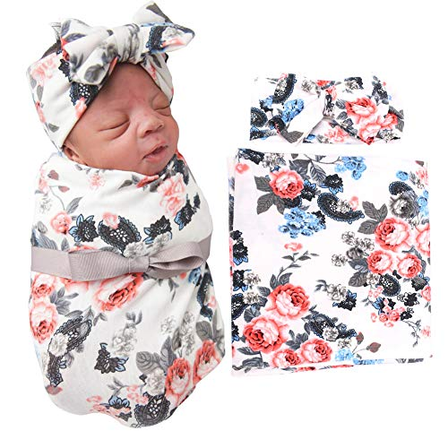 (BQUBO Newborn Baby Receiving Blankets Newborn Baby Floral Swaddling with Headbands or Hats Infant Sleepsack)