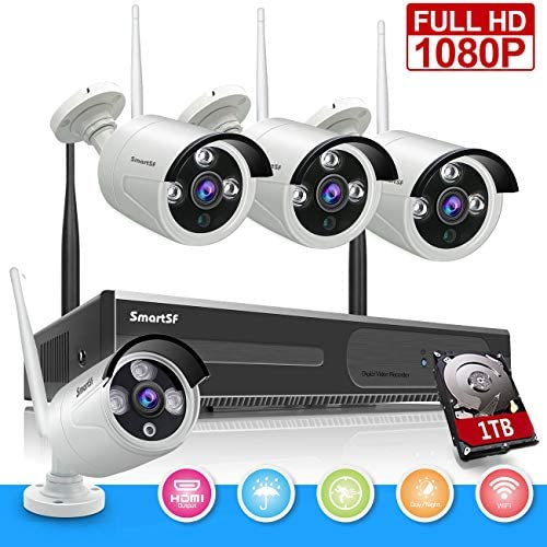 SmartSF 1080P 8CH HD WiFi NVR Kit Wireless Security Camera CCTV Surveillance System