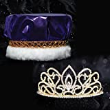 Golden Coronation Set, 2 1/4 inches High Gold Adele Tiara and Metallic Purple Crown with Gold Braid, White Fur