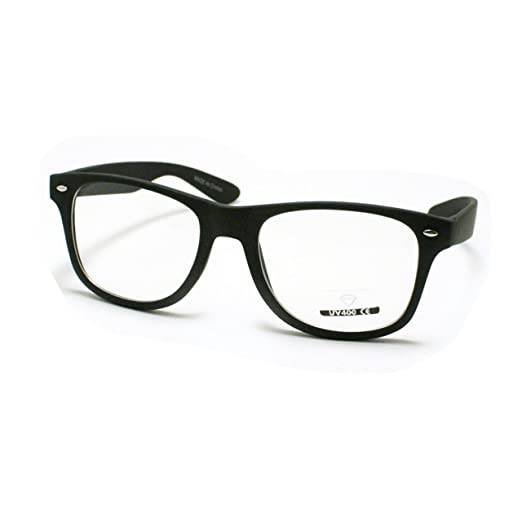 Amazon.com: Matte Black Clear Lens Wayfarer Eyeglasses Classic ...