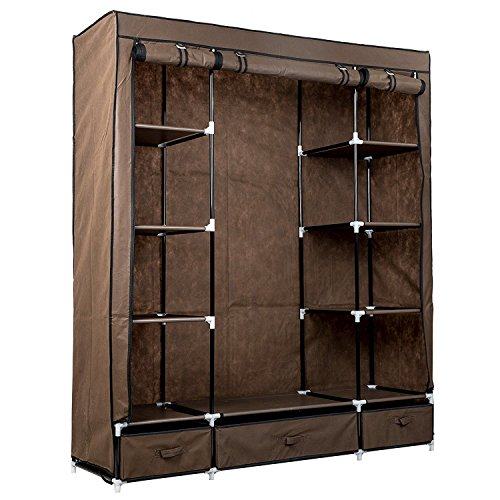 Canvas Storage Boxes For Wardrobes: Metal Garment Rack Wardrobe Cupboard