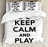 Hockey King Size Duvet Cover Set by Ambesonne, Keep Calm and Play Hockey Quote with Sticks in Black and White Competition Sports, Decorative 3 Piece Bedding Set with 2 Pillow Shams, Black White