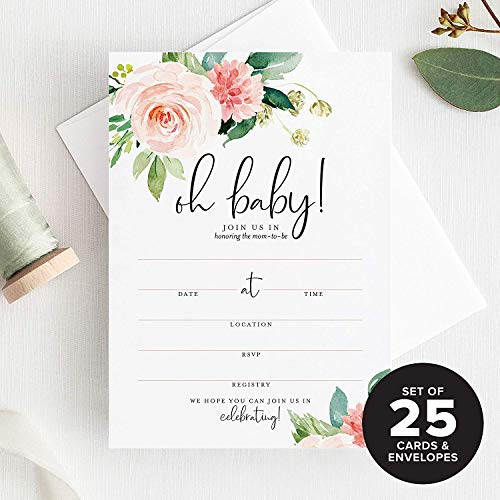 Invitation Baby Shower (Bliss Collections Baby Shower Invitations with Envelopes, Oh Baby Floral Invites for Girl, Boho, Pink, Blank, Fill-In 25 Pack of 5x7)