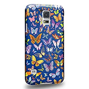 Case88 Premium Designs Art Persian blue Butterfly Patterns Carcasa/Funda dura para el Samsung Galaxy S5
