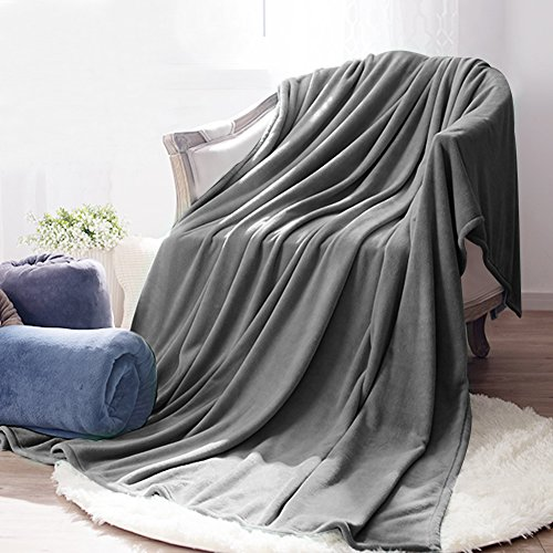 Somewell Coral Throw Blanket, Super Soft Fuzzy Lightweight Bed Blankets, All Seasons Collection Luxury Polar Fleece Blanket Couch Throw The Perfect Flag Day Gift-King,Smoky Grey