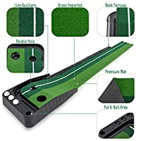Indoor Golf Putting Practise Mat – Auto Ball Return Function – Life-Like Portable Golf Court with Real-Like Grass – Extra-Long Golf Mat – 3 Bonus Balls