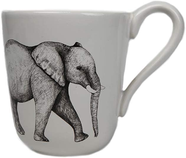 Comfy Hour Farmhouse Home Decor Collection 10oz Elephant Pattern Mug Water Cup Stoneware